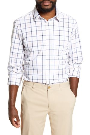 Mizzen+Main Men's Leeward Trim Fit Windowpane Button-Up Performance Shirt