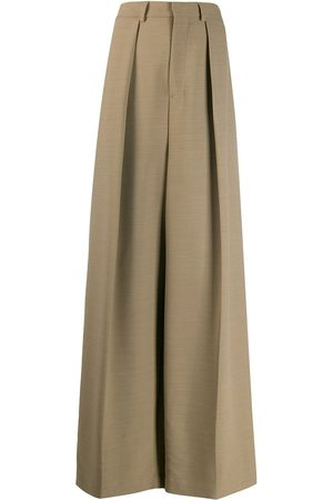 AMI Paris Wide fit pleated trousers - Neutrals