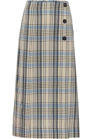 Victoria Beckham Checked wool midi skirt