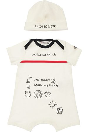 Moncler Printed Cotton Jersey Romper & Hat