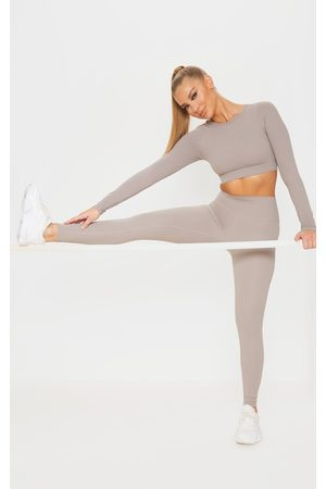 PRETTYLITTLETHING Taupe Sculpt Luxe Gym Legging