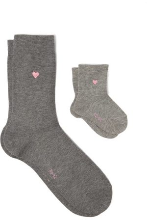 Falke Mini Me Cotton-blend Adult And Baby Socks - Womens - Light Grey