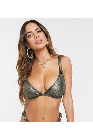 Wolf & Whistle Fuller Bust Exclusive triangle bikini top with buckles in shimmer D-F