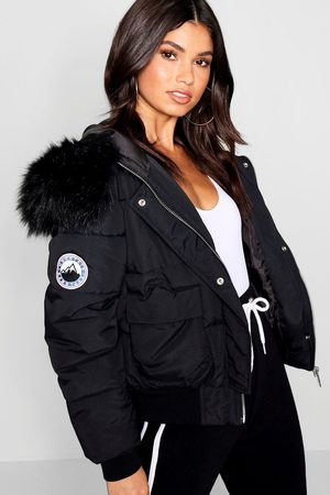 Boohoo Womens Faux Fur Hood Crop Puffer - 4
