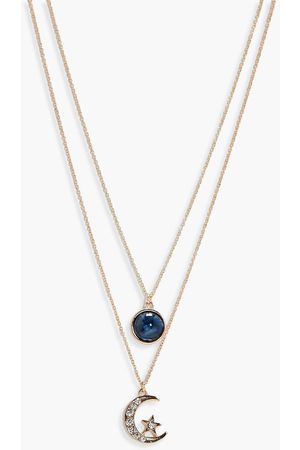 Boohoo Womens Layered Moon And Circle Necklace - - One Size