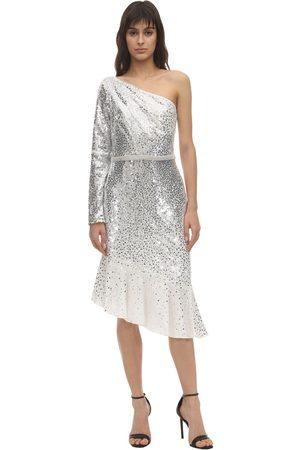 Marchesa Notte Sequined One Shoulder Midi Dress