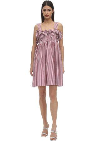 pushBUTTON Striped Cotton Mini Dress W/ Bows