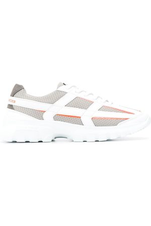 Filling pieces Women Platform Sneakers - Leather grid and mesh platform trainers - Grey