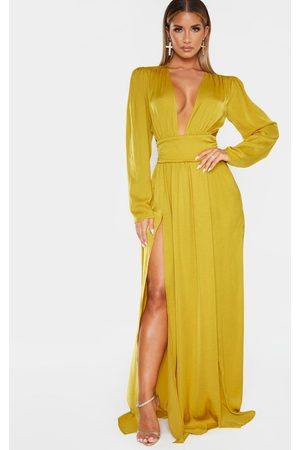 PRETTYLITTLETHING Chartreuse Puff Sleeve Extreme Plunge Waist Detail Maxi Dress