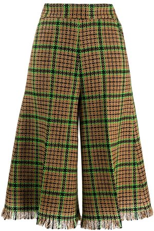 Msgm Women Culottes - Woven check culottes - Neutrals