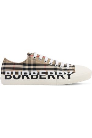 Burberry Logo Larkhall Check Canvas Low Sneakers