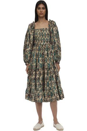 LUG VON SIGA Daphne Printed Cupro Midi Dress