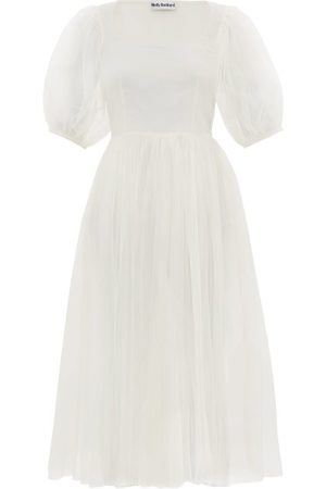 Molly Goddard Tilly Puffed-sleeve Tulle Midi Dress - Womens - Ivory