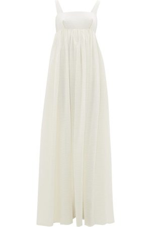 EMILIA WICKSTEAD Women Maxi Dresses - Evelina Square-neck Seersucker-organza Maxi Dress - Womens - Ivory