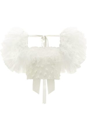 RODARTE Tulle-sleeve Bow-appliqué Cropped Top - Womens