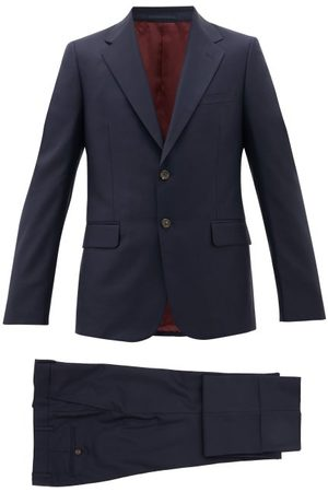 Gucci London Single-breasted Wool-blend Suit - Mens - Navy