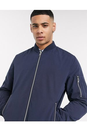 Jack & Jones Essentials zip through bomber jacket in navy