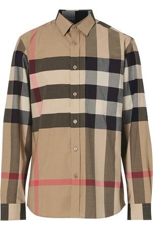 Burberry Oversized check shirt - Neutrals