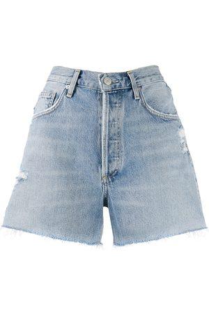 AGOLDE Women Shorts - Distressed denim shorts