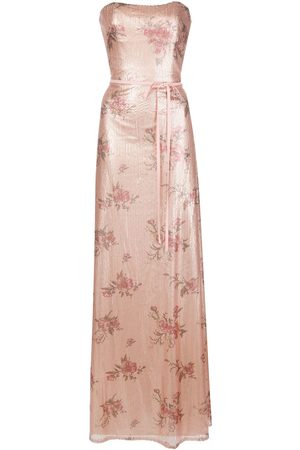 Marchesa Notte Women Printed Dresses - Bridesmaid floral-printed sequin gown