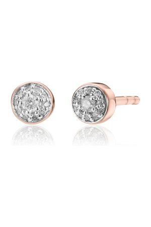 Monica Vinader Women Earrings - Rose Gold Fiji Tiny Button Diamond Stud Earrings Diamond