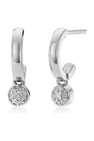 Monica Vinader Sterling Silver Fiji Tiny Button Huggie Diamond Earrings Diamond