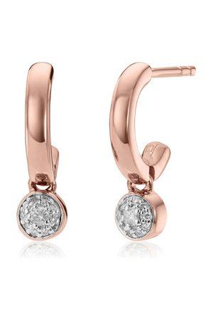 Monica Vinader Rose Gold Fiji Tiny Button Huggie Diamond Earrings Diamond