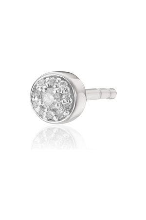 Monica Vinader Women Studs - Sterling Silver Fiji Tiny Button Stud Diamond Single Earring Diamond