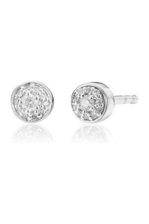 Monica Vinader Women Earrings - Sterling Silver Fiji Tiny Button Diamond Stud Earrings Diamond