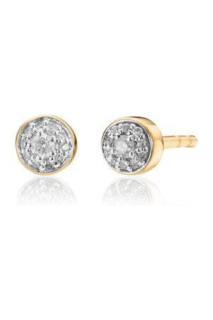 Monica Vinader Women Earrings - Gold Fiji Tiny Button Diamond Stud Earrings Diamond