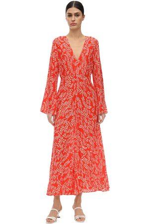 RIXO London Sonja Printed Silk & Viscose Midi Dress