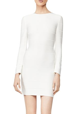 Hervé Léger Long-Sleeve Mini Sheath Dress