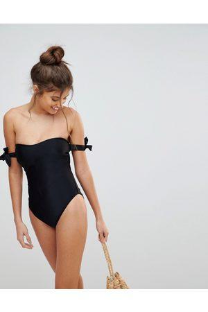 ASOS Women Swimsuits - FULLER BUST Bardot Bunny Tie Swimsuit