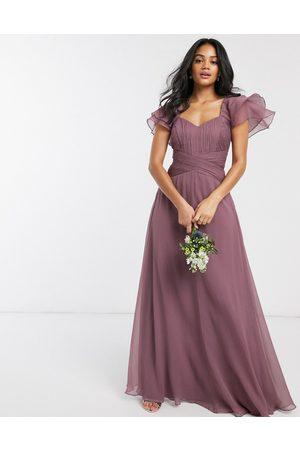 ASOS DESIGN Bridesmaid short sleeve ruched maxi dress