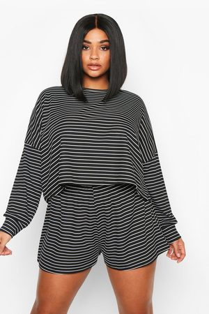 Boohoo Womens Plus Stripe Oversize T-Shirt + Short Rib Two-Piece - - 12