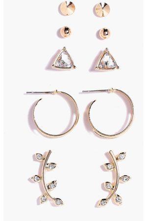 Boohoo Womens Ear Cuff & Stud 5 Earring Set - - One Size