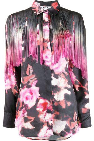 Msgm Fringed-yoke floral-print shirt