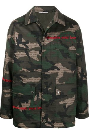 VALENTINO Camouflage print text detail jacket