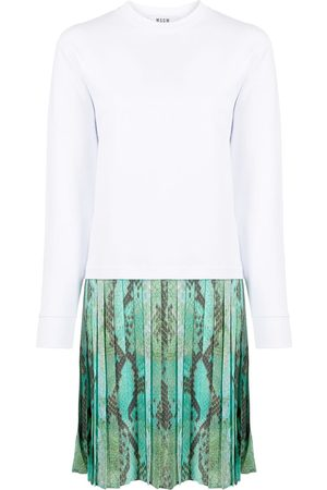 Msgm Snake-printed pleated sweatdress