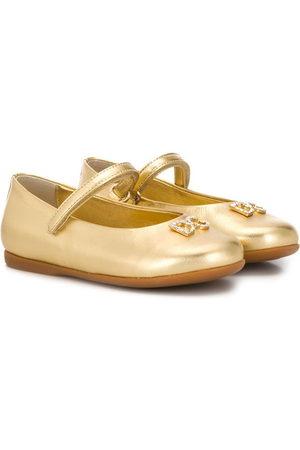Dolce & Gabbana Crystal-embellished logo ballerina shoes