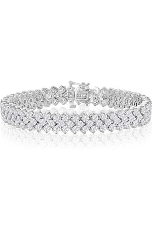 SuperJeweler 8 Inch 13 Carat Three Row Diamond Men's Tennis Bracelet in 14K (27 g)