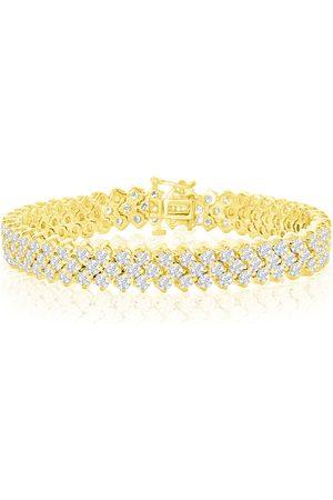SuperJeweler 14K (27 g) 12 Carat Three Row Diamond Tennis Bracelet