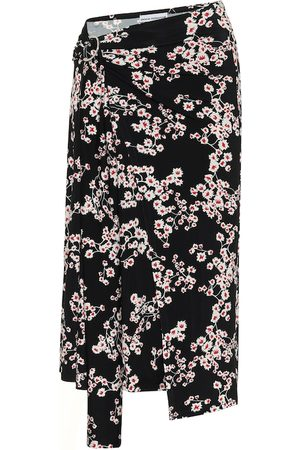 Paco Rabanne Floral jersey midi skirt
