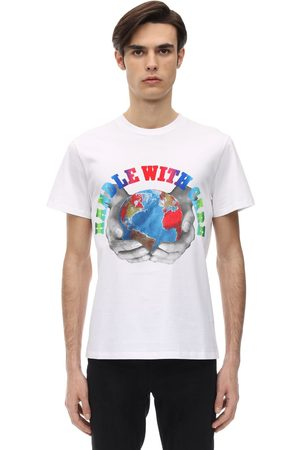 Stella McCartney Men T-shirts - Handle With Care Print Cotton T-shirt