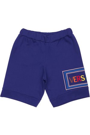 VERSACE Boys Shorts - Embroidered Logo Cotton Sweat Shorts