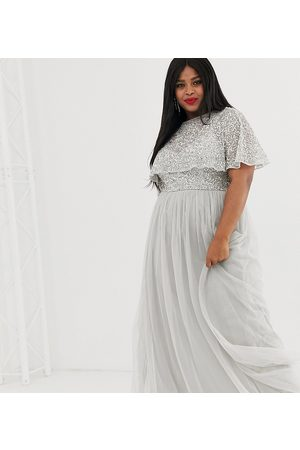 Maya Delicate embellished cape maxi dress in silver