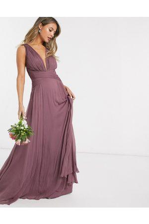 ASOS DESIGN Women Maxi Dresses - Bridesmaid ruched bodice drape maxi dress with wrap waist
