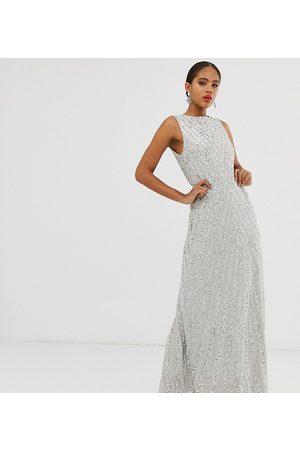 Maya Tall Allover stripe embellished trophy maxi dress in silver