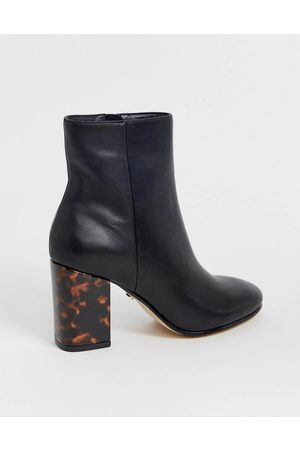 Office Aima mid heeled ankle boots with tortoise print contrast heel in