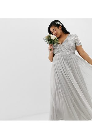 Maya Plus Bridesmaid v neck maxi tulle dress with tonal delicate sequins in silver